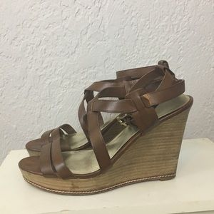 Coach wedge leather sandals brown ankle strap 9.5
